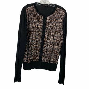 Ann Taylor Lace Front Button Up Cardigan Sweater L